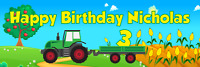 """36"""" x 12"""" Personalized Farm Tractor Birthday Party Banner ANY NAME, ANY AGE"""
