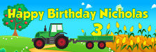 "ANY AGE 36/"" x 12/"" Personalized Farm Tractor Birthday Party Banner ANY NAME"