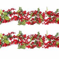 colgante de decoracin del hogar guirnalda de navidad navidad holly bayas hojas 15 m - Guirnalda De Navidad