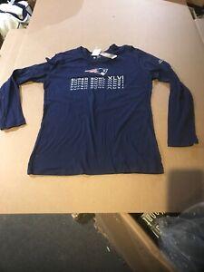 New England Patriots Womens Patriots T-Shirt Long  Blue NFL Super Bowl XLVI XL
