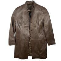 Tiboa Brown Leather Jacket Womens Size 8 3/4 Length Button Front Excellent EUC