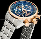 Invicta Mens Aviator Chronograph Blue Dial 18K Gold Plated Stainless Tachy Watch