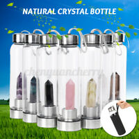 Natural Quartz Energy Point With Obelisk Wand Drink Crystal Water Glass Bottle