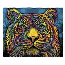 Vibrant Yellow Blue Colorful Artwork Jungle Tiger Cat Soft Fleece Throw Blanket