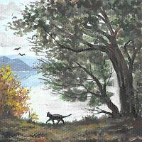 4x4 print of painting BLACK CAT HALLOWEEN RYTA LANDSCAPE AUTUMN FOLK ART REALISM