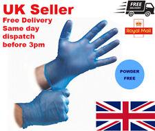 Blue Vinyl Gloves Disposable POWDER FREE Latex-Free Multi-Purpose Food Safe