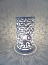 Moroccan / Art Deco Style Cutout Cylindrical Table Lamp.White.Modern Table Lamp