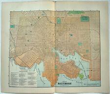Baltimore, Maryland - Original 1891 Street & Railroad Map by Hunt & Eaton