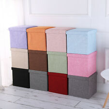 Linen Foldable Storage Stool Fabric Storage Ottoman Change Shoes Sofa Stool Gray