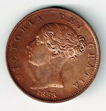 GREAT BRITAIN 1853 1/2 HALF PENNY QUEEN VICTORIA CHOICE UNCIRCULATED WITH LUSTRE