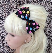 "NEW BLACK LIQUORICE ALLSORTS RETRO PRINT 5"" COTTON SIDE BOW ALICE HAIR HEAD BAND"