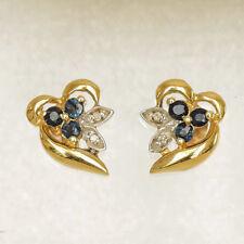 NATURAL SAPPHIRE DIAMOND EARRINGS GENUINE 9K 375 GOLD STUDS REAL DIAMONDS NEW