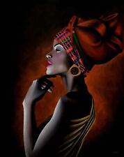 Handmade Acrylic Color Canvas Painting of African Lady