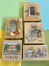 Stamps Happen Rubber Stamp Lot. Large Colorful Retired Stamps #5011