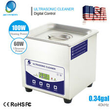 Stainless Steel 1.3L Industry Ultrasonic Cleaner Heater w/ Timer Jewelry Glasses
