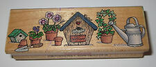 Birdhouse Border Rubber Stamp Birdhouses Flowers Watering Can Welcome Pots
