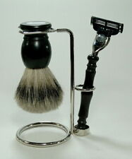 Ebony Shaving Set - Hans Baier Germany - Brush Badger Hair Silvertip Shaver