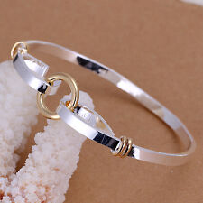 "wholesale Sterling solid silver fashion jewelry gold ""0"" bangle bracelet SK083"