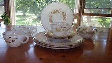 Federal Glass Co Meadow Gold Dinnerware Set NOS 15 pc Milk Glass Set 22kt gold