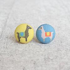 Llama Fabric Button Earrings