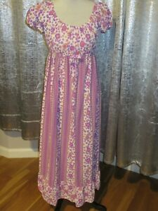 Vintage Purple Floral Sheer Dress Fit ( 8-12) Made In Britain By StMichael