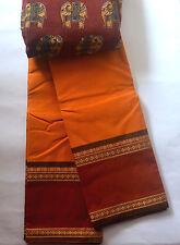 South Cotton pure handloom saree Deep yellow with brick red border