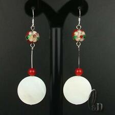 AU SELLER Natural Red Coral&Handmade Mother Of Pearls Silver earrings 030464