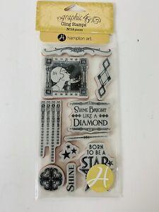 Graphic 45 VINTAGE HOLLYWOOD Stamp Set #2 Art Deco Star Shine Bright Diamond