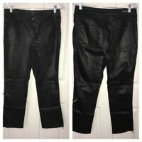 Simon Chang Denim Women's 10 Black Animal Print Stretch Pants Ankle Zippers EUC