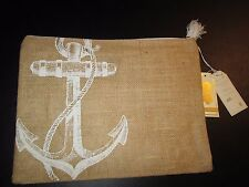 Aweigh We Go Jute Carry-All Case by Mud Pie, Anchor Design, NWT
