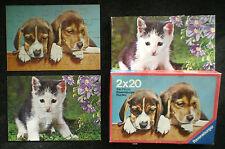 2 Puzzle, 2x20 Teile, Hunde / Katze, Ravensburger 62356804 – rar, komplett, gebr
