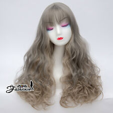 60cm Mixed Light Gray Long Curly Hair Women Lolita Fancy Ombre Party Cosplay Wig