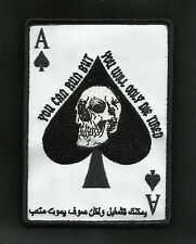 ARABIC ACE OF SPADES DEATH CARD TACTICAL Hook & Loop BADGE MORALE MILITARY PATCH