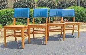 (4) Gunlocke Side Chairs - Blue leather ~ ***FREE GPX SHIP! (FedEx avail)***
