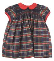Tommy Hilfiger Toddler Girls Red Blue Green Plaid Holiday Dress Sz 12-18 Mos