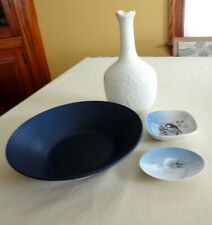 4 Vtg Royal Copenhagen Denmark 2 Bird Trinket Dish 1 Decanter Blue Fluted Bowl