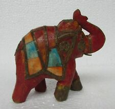Vintage Old Hand Carved Colorful Brass Fitted Wooden Elephant Statue