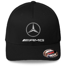 Mercedes AMG Logo on Black Hat Flexfit Baseball Cap Printed Emblem S/M and L/XL