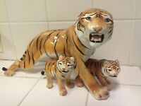 Vintage Romzan  Italian Tiger With 2 Cubs Porcelain Figurines
