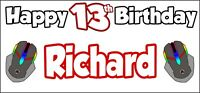 PC Gaming 13th Birthday Banner x 2 Party Decorations Boys Girls ANY NAME