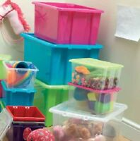 STORAGE BOXES CLEAR PLASTIC WITH LID STACKABLE STACKING CONTAINER TUB COLOURED