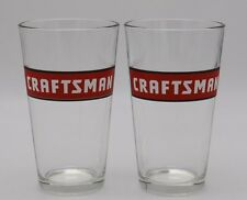 Set (2) Sears CRAFTSMAN Tools Red Square Logo Beer Pint Glass Barware Mancave