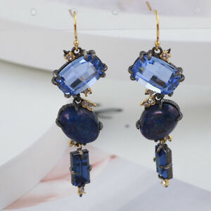 Alexis Bittar Fashion Blue Rhinestone Geometric Earrings