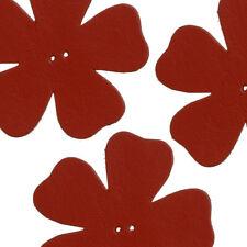 Gran flor de cuero rojo Die Cut 2 agujero encantos 55 mm paquete de 3 (P13/3)