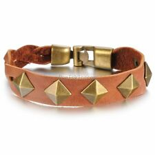 Vintage Retro Bronze Tone Punk Rivet Brown Leather Wristband Bracelet for Men