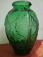 Bellissimo VASO Vetro Verde d 16 cm h 23 cm