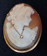Vintage Italian Shell Cameo Diamond Embellishment 9ct Gold Brooch Pin/Pendant