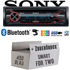 Autoradio Sony pour Smart Fortwo 450 bleu Bluetooth CD mp3 USB Auto Kit de montage