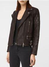 All Saints Armstead Brown 100% Leather Biker Jacket SIZE UK 4
