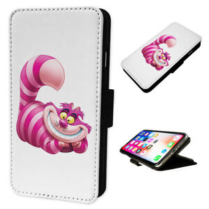 Cheshire Cat Pink - Flip Phone Case Wallet Cover - Fits Iphones & Samsung